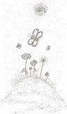 Флористический луг с бабочками Стоковое Фото