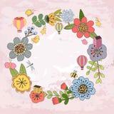 Флористический шаблон карточки стоковые фотографии rf
