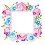флористический шаблон Квадратная рамка с абстрактными розовыми и голубыми розами, желтыми цветками и растительностью Стоковые Фото