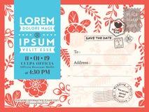 Флористический шаблон предпосылки открытки для Wedding карточки приглашения Стоковые Фотографии RF