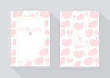 Флористический шаблон приглашения свадьбы Розовые цветки Стоковые Фото