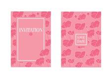 Флористический шаблон приглашения свадьбы Розовые цветки Стоковые Изображения RF