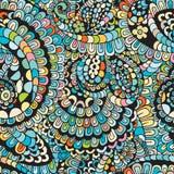 Флористический яркий абстрактный орнамент волны, рука нарисованная иллюстрация вектора сделанная простых doodles Картина путать Д Стоковые Изображения