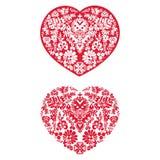 2 флористических сердца Стоковые Изображения
