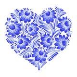 Флористическое декоративное сердце орнамента Стоковые Изображения