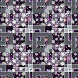 Флористическое заплатки абстрактное безшовное, предпосылка света текстуры картины с декоративными элементами Стоковая Фотография RF