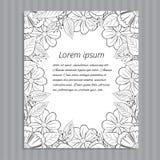Флористическое нарисованное вручную приглашение свадьбы Стоковое Изображение