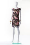 Флористическое платье вечера на манекене Стоковое Изображение