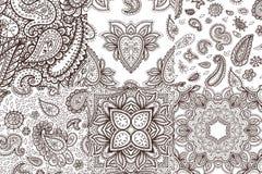 Флористической предпосылка Индии племенная Пейсли картины mhendi хны иллюстрации вектора орнамента картины mehendi нарисованная р Стоковая Фотография