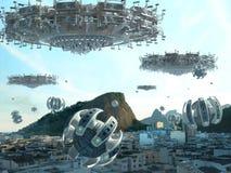 Флот UFO вторгаясь Рио-де-Жанейро стоковое изображение