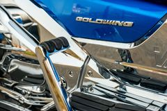 ХАБАРОВСК, РОССИЯ - 3-ье мая 2017: Honda Trake 3-катил стойки рук-собранные мотоцилк на плоской земле в Хабаровске Стоковые Фотографии RF