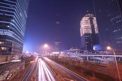 Хайвей ночи Шанхай Pudong стоковые фото