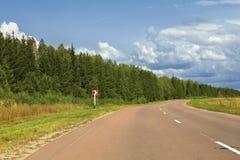 хайвей расстояния выходя около древесины Стоковое Изображение