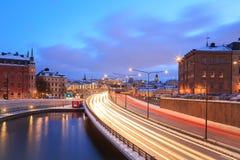 Хайвей Стокгольма к городу стоковые фото