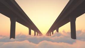 Дорога к хайвею рая над облаками Стоковые Фотографии RF