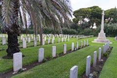 ХАЙФА, ИЗРАИЛЬ - 21-ое октября 2018: Погост для великобританских солдат которые умерли во время великобританского мандата 1918-19 стоковое фото rf
