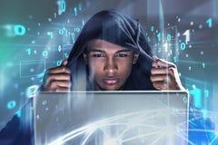 Хакер, бинарный код бесплатная иллюстрация