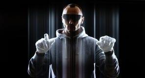 Хакер в будущей кибер атаке Стоковая Фотография RF