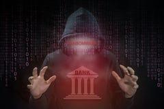 Хакер используя ransomware для системы банка нападения Стоковая Фотография