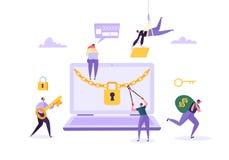 Хакер крадя пароль и деньги от ноутбука Характеры похитителя рубя компьютер Нападение рыбной ловли, финансовое очковтирательство иллюстрация штока