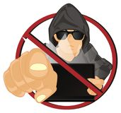 Хакер на жесте выставки запрета иллюстрация штока