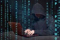 Хакер на работе Стоковое Изображение