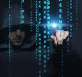 Хакер на работе Стоковая Фотография