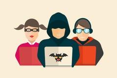 Хакер, очковтирательство и кодер также вектор иллюстрации притяжки corel иллюстрация вектора