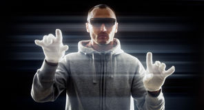 Хакер печатая, виртуальная научная фантастика Стоковое Фото