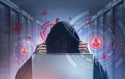 Хакер, сервер, HUD, сеть, компьтер-книжка стоковая фотография rf