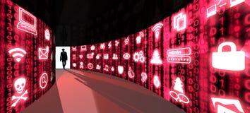 Хакер элиты входит в коридор информационной безопасности иллюстрация вектора