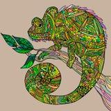 Хамелеон на ветви дерева иллюстрация вектора