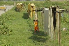 Ханой, Вьетнам: вермишель аррорута специальные въетнамские лапши сушится на бамбуковых загородках идя вперед стоковые фото