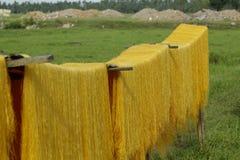 Ханой, Вьетнам: вермишель аррорута специальные въетнамские лапши сушится на бамбуковых загородках идя вперед стоковое фото