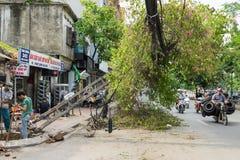Ханой, Вьетнам - 14-ое июня 2015: Упаденный электрический поляк повредил на улице естественным тяжелым штормом ветра в улице Ким  стоковое изображение rf