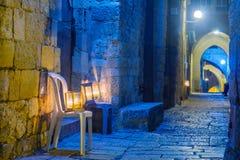 Ханука в еврейском квартале, Иерусалим Стоковые Изображения
