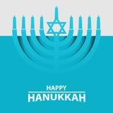 Ханука Menorah на свете - голубой предпосылке Счастливое оформление текста Хануки