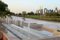 Характеристика фонтана в парке Bidda, Дохе стоковое изображение