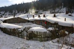 Характерное snowscape сельского дома Стоковое Изображение