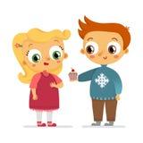 Характеры вектора мальчика и девушки на белизне Стоковое Фото