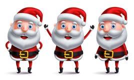 Характеры вектора Санта Клауса установили счастливый усмехаться и разговаривать с жестами рукой бесплатная иллюстрация