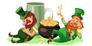 Характеры дня St. Patrick, лепрекон с кружкой зеленого пива, стеклянного полного эля спирта, пьяного человека в символе цилиндра  Стоковое Изображение RF