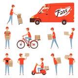Характеры доставки пиццы Van и мотоцикл или мопед для перехода ресторана обслуживания предприятий работника доставляющего покупки иллюстрация вектора