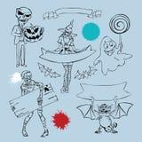 Характеры и элементы графика для дизайна хеллоуина Иллюстрация штока