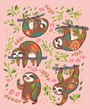 Характеры медведя лени животные во флористическом орнаменте изолированном на розовой предпосылке иллюстрация штока