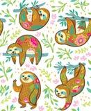 Характеры медведя лени животные в картине флористического орнамента безшовной бесплатная иллюстрация