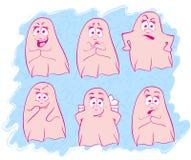 Характеры призрака на голубой предпосылке с эмоциями Стоковые Фотографии RF