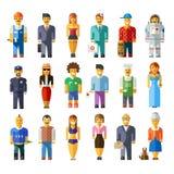 Характеры плоских людей вектора шаржа различные Стоковые Фотографии RF