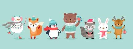 Характеры рождества - животные, снеговики, Санта Клаус бесплатная иллюстрация