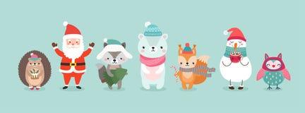 Характеры рождества - животные, снеговики, Санта Клаус иллюстрация вектора